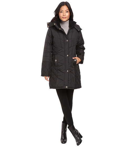KC Collections Quilted Puffer with Hood