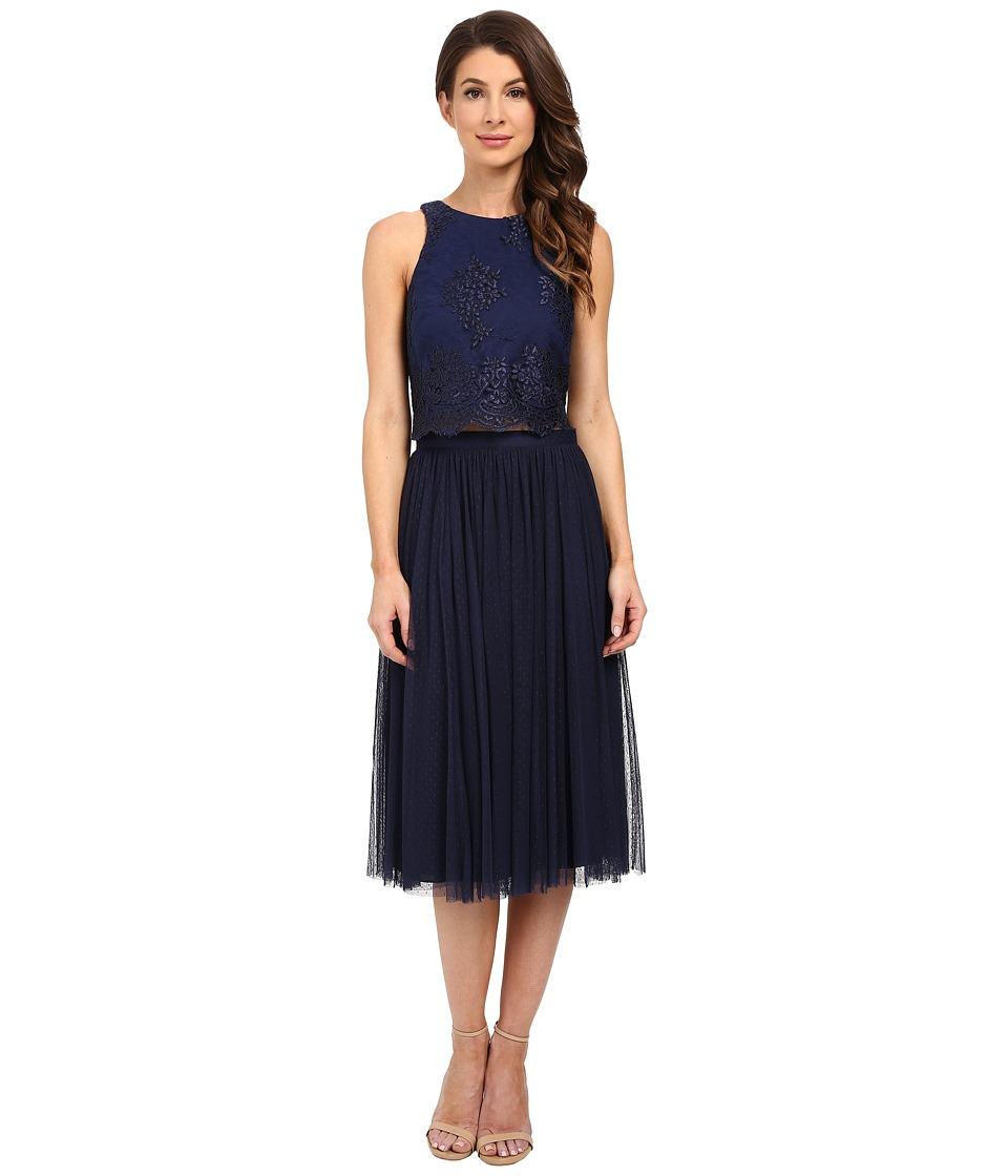 Donna Morgan Beatrix Lace Bodice w/ Skirt Midnight Womens Dress