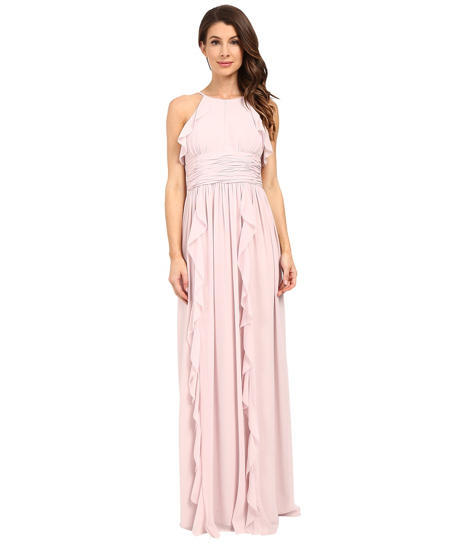 Donna Morgan Skye Cutaway Halter Gown Palest Pink Womens Dress