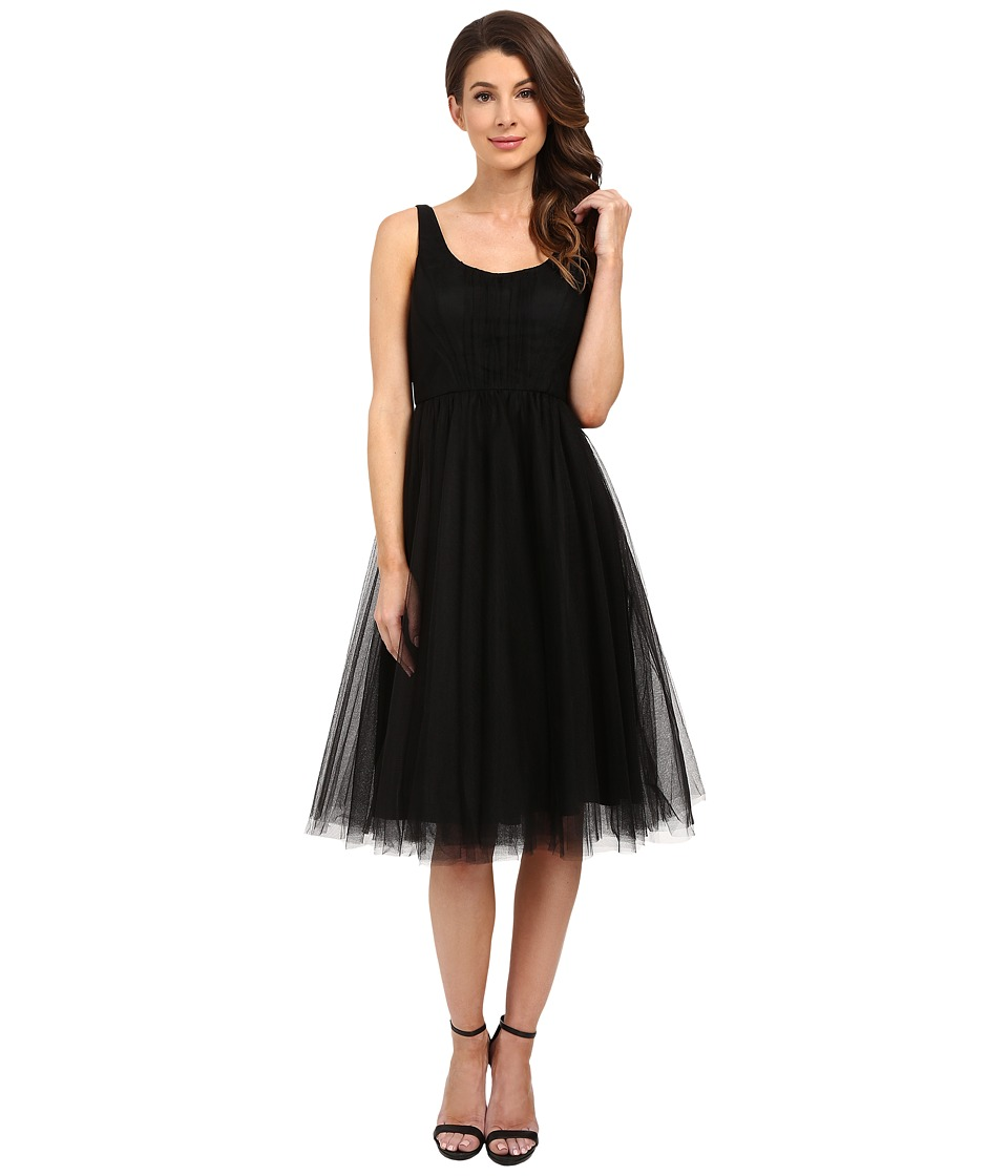 Donna Morgan Chantal Scoop Neck Tulle Dress Black Womens Dress