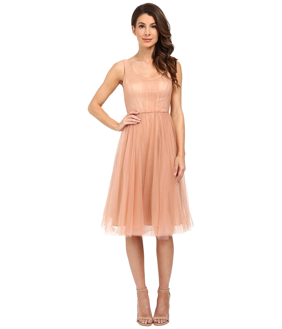 Donna Morgan Chantal Scoop Neck Tulle Dress Feather Womens Dress