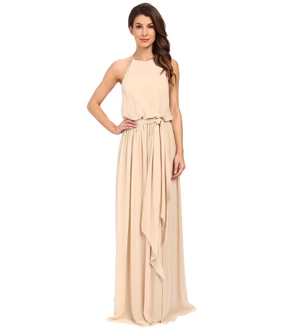 Donna Morgan Alana Drape Blouson Gown Champagne Womens Dress