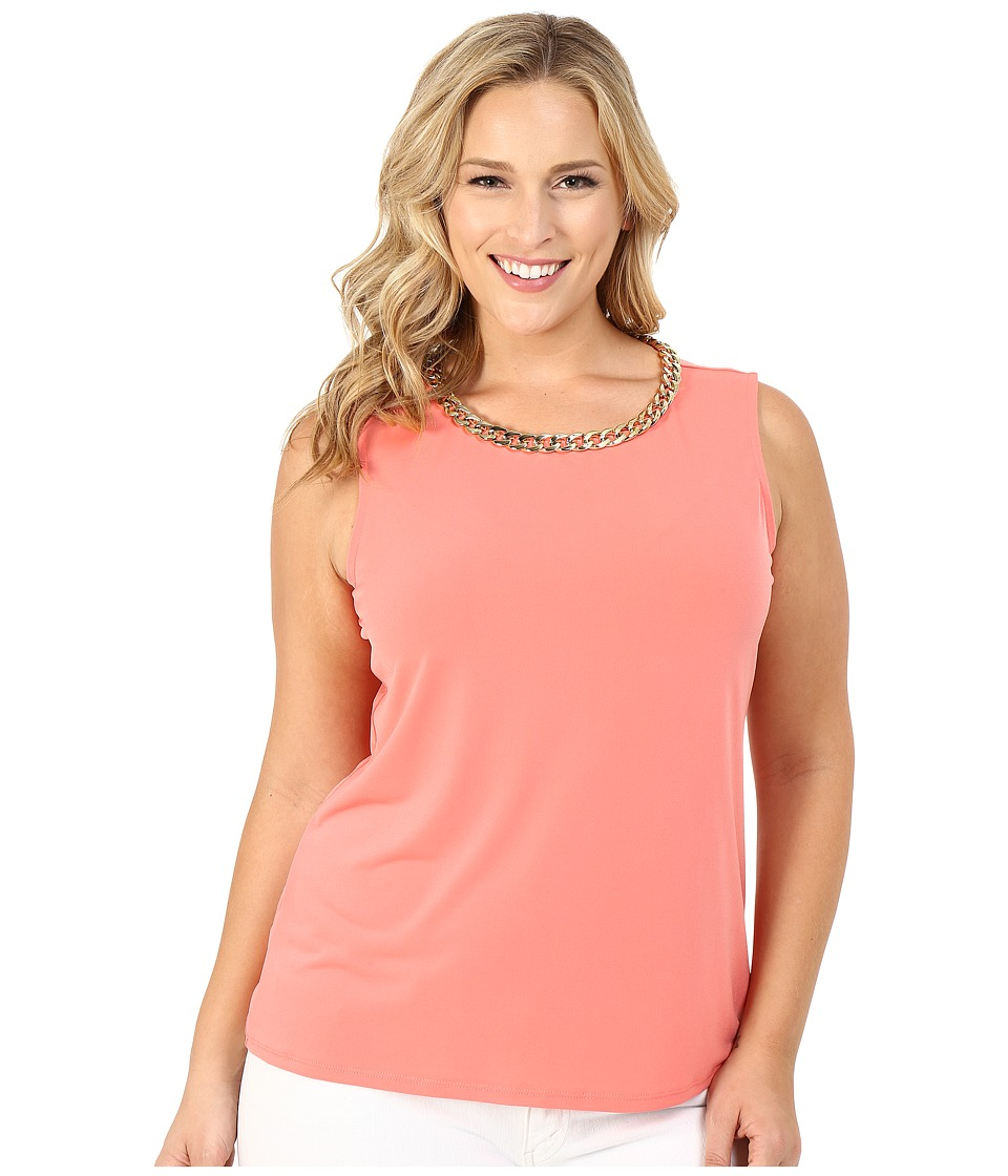 Calvin Klein Plus Plus Size Sleeveless Top w/ Chain Necklace Porcelain Rose Womens Sleeveless