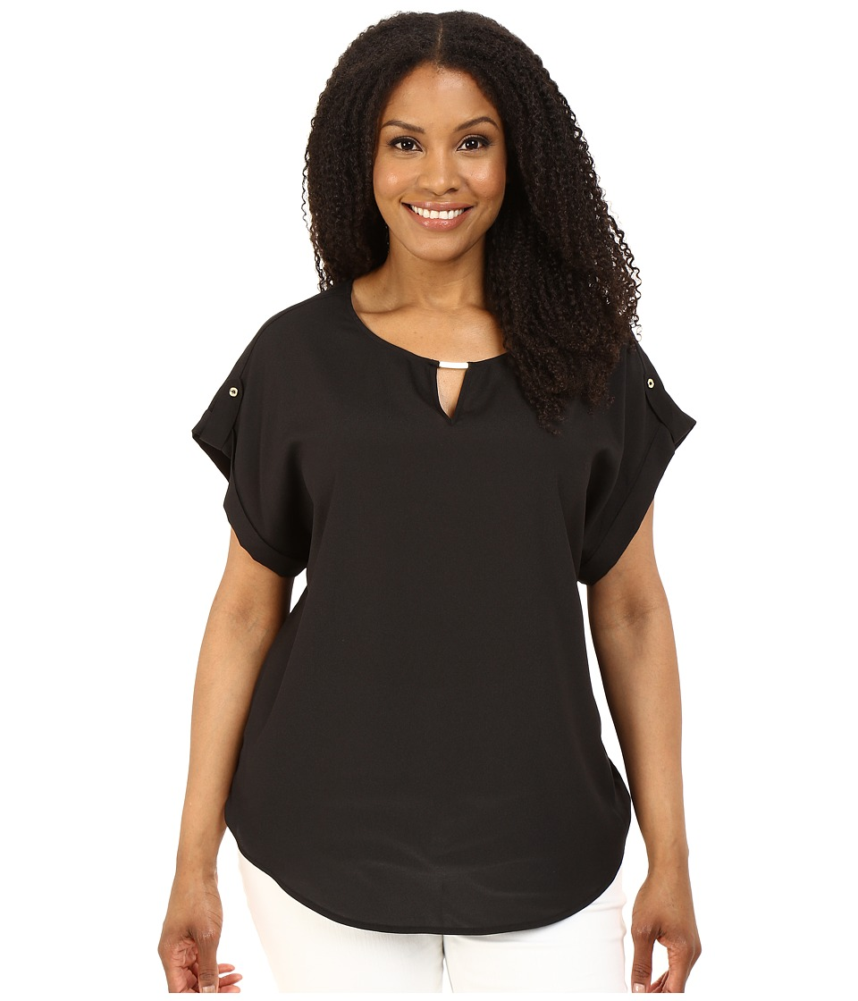 Calvin Klein Plus Plus Size Short Sleeve Top w/ Hardware Black Womens Blouse