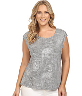 Calvin Klein Plus - Plus Size Metallic Top w/ Buttons