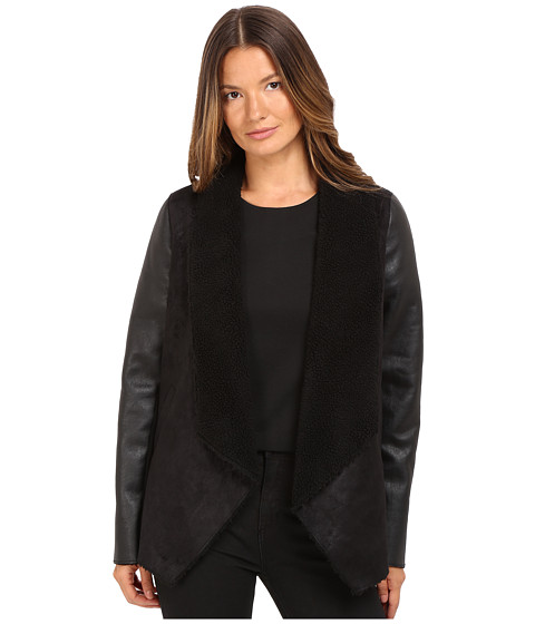 The Kooples Gilet in Faux Treated Sheepskin with Faux Leather on the Sleeves