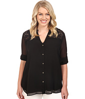 Calvin Klein Plus - Plus Size Roll Sleeve Blouse w/ Lace Yoke