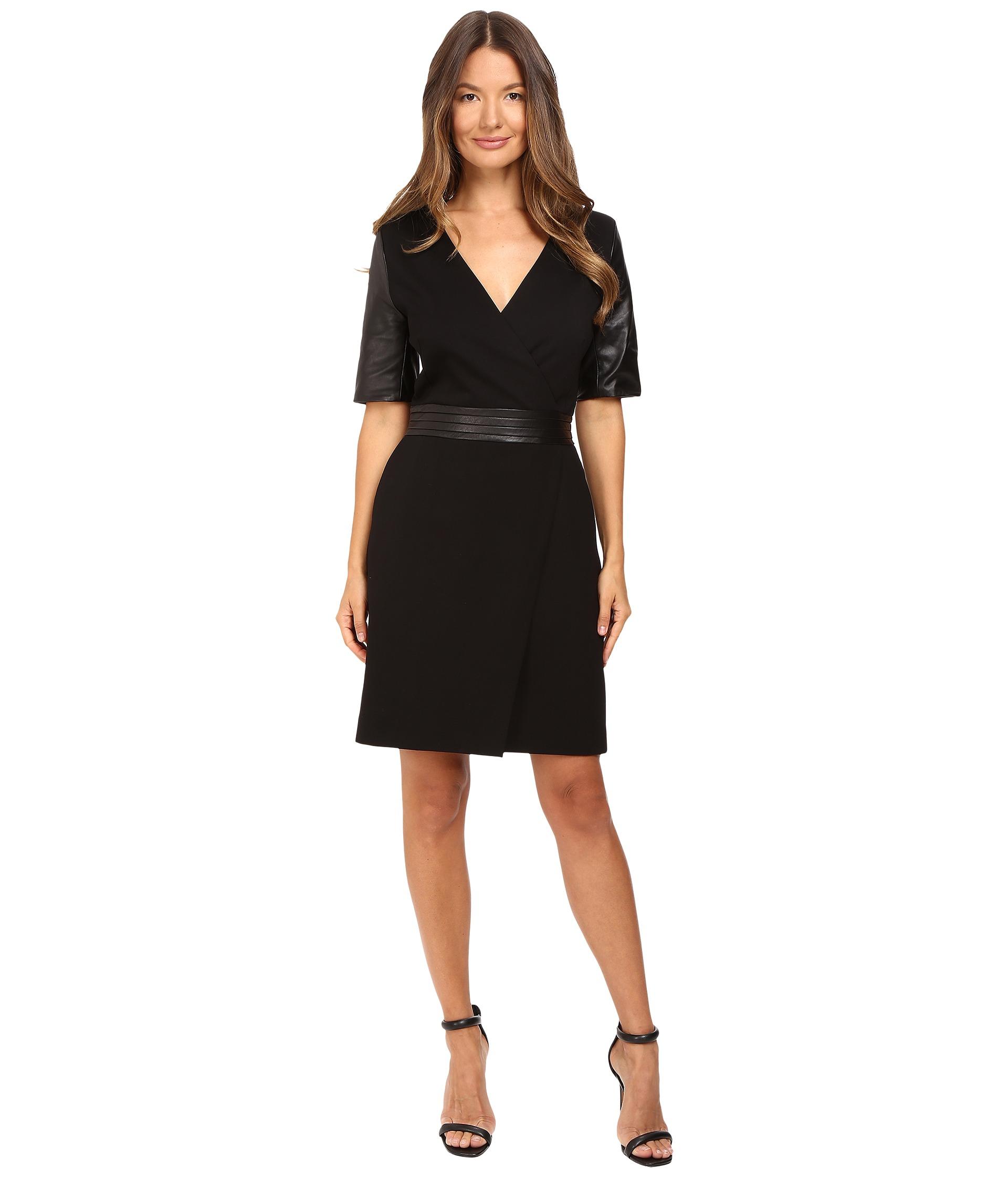 The Kooples Short V Neck Dress Leather Sleeves And Belt
