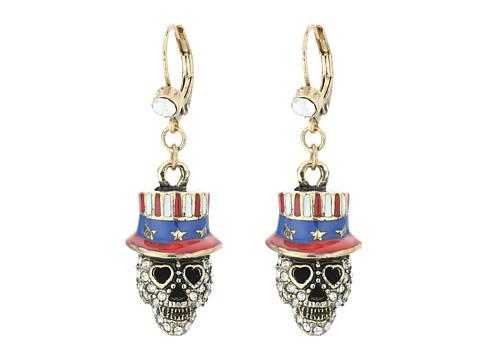 Betsey Johnson Americana Skull Drop Earrings