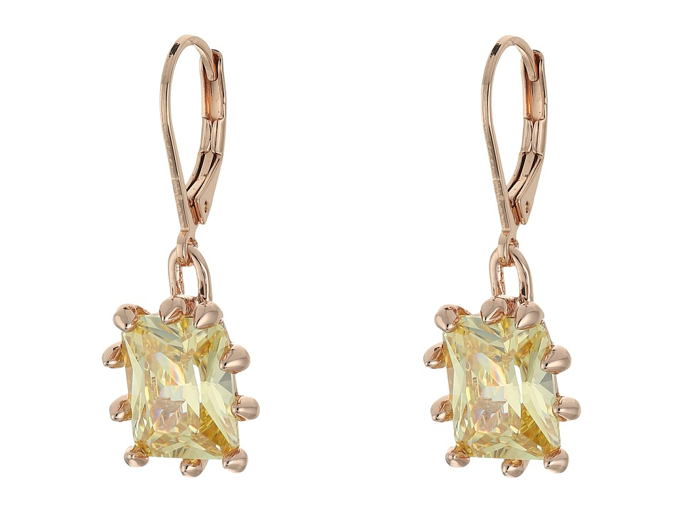 Eddie Borgo French Clip Estate Day Drop Earrings Shiny Plated Brass/Cubic Zirconia Earring