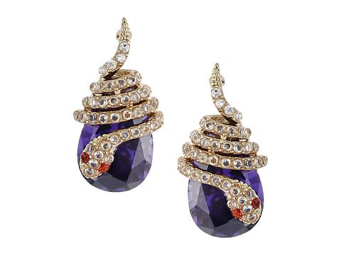 Betsey Johnson Blue CZ Snake Drop Stud Earrings
