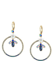 Betsey Johnson - Blue Floral Gypsy Hoop Earrings