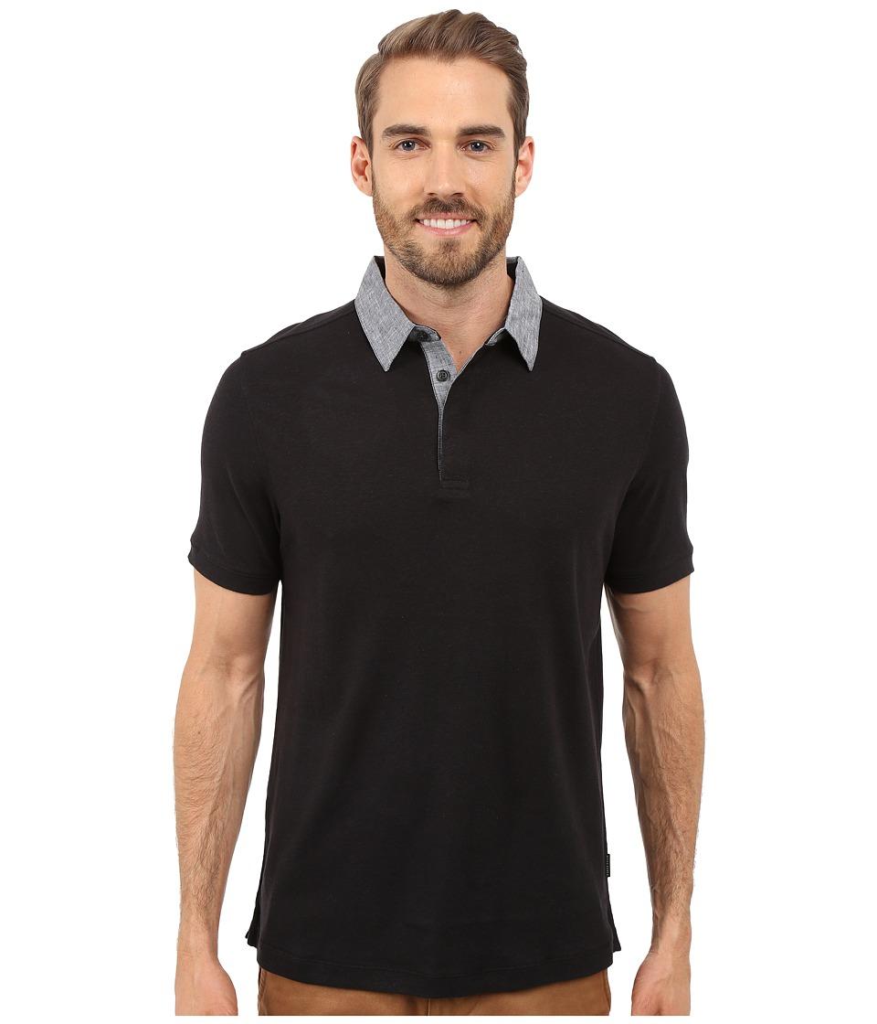Perry Ellis Short Sleeve Linen Polo Black Mens Short Sleeve Knit
