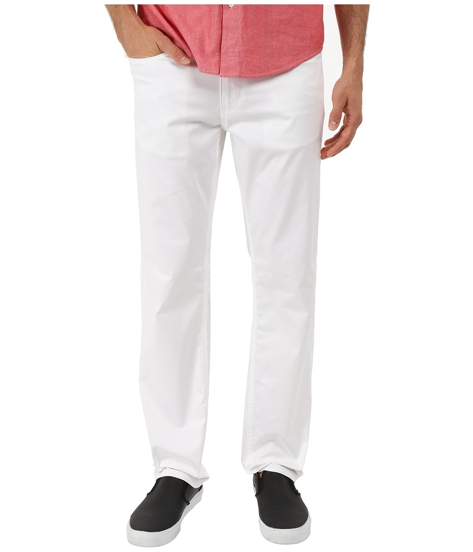 Perry Ellis Slim Fit Solid Sateen Five Pocket Pants Bright White Mens Casual Pants