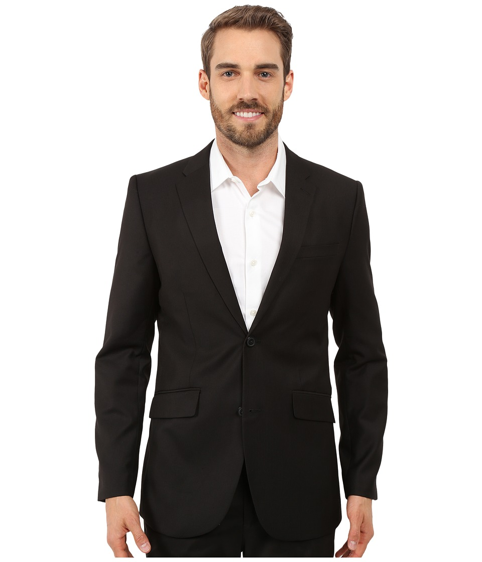 Perry Ellis Slim Fit Stripe Twill Suit Jacket Black Mens Jacket