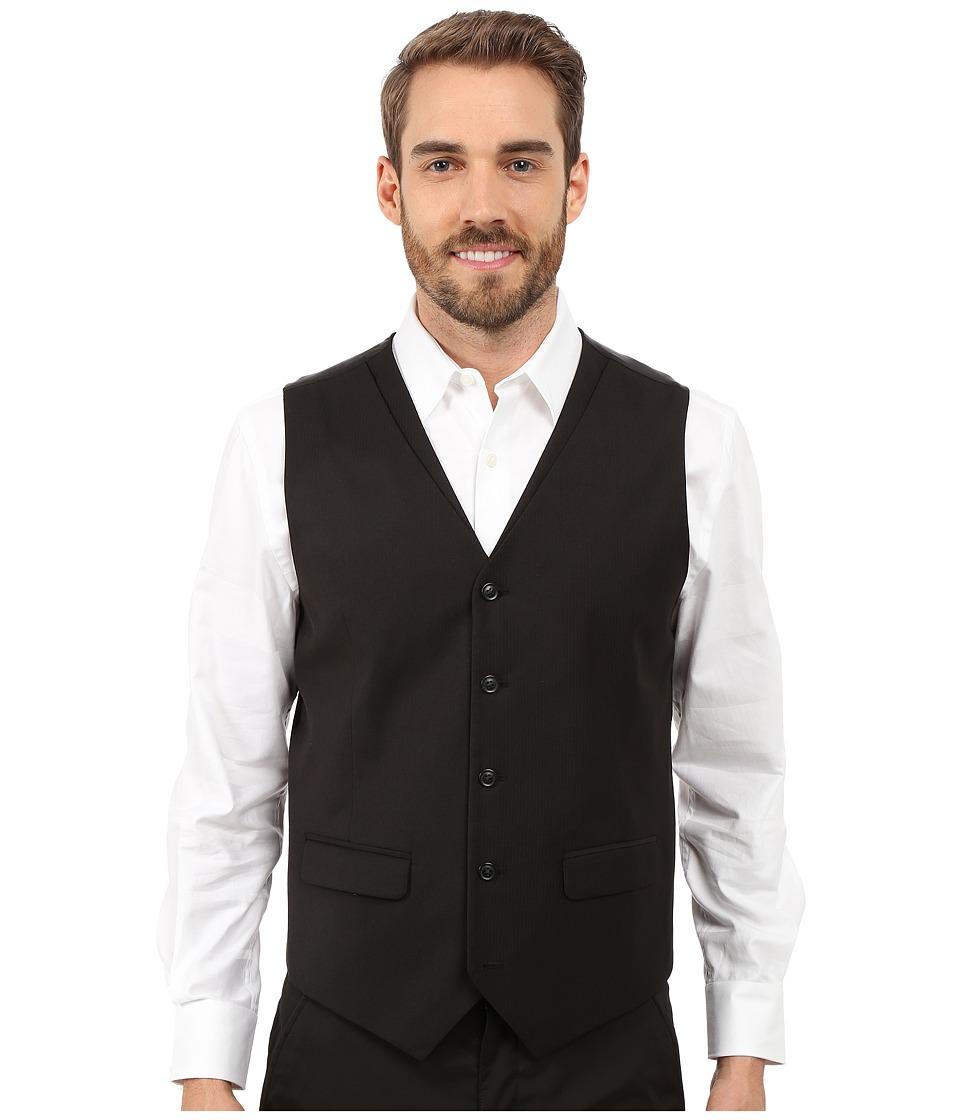 Perry Ellis Solid Twill Stripe Suit Vest Black Mens Vest