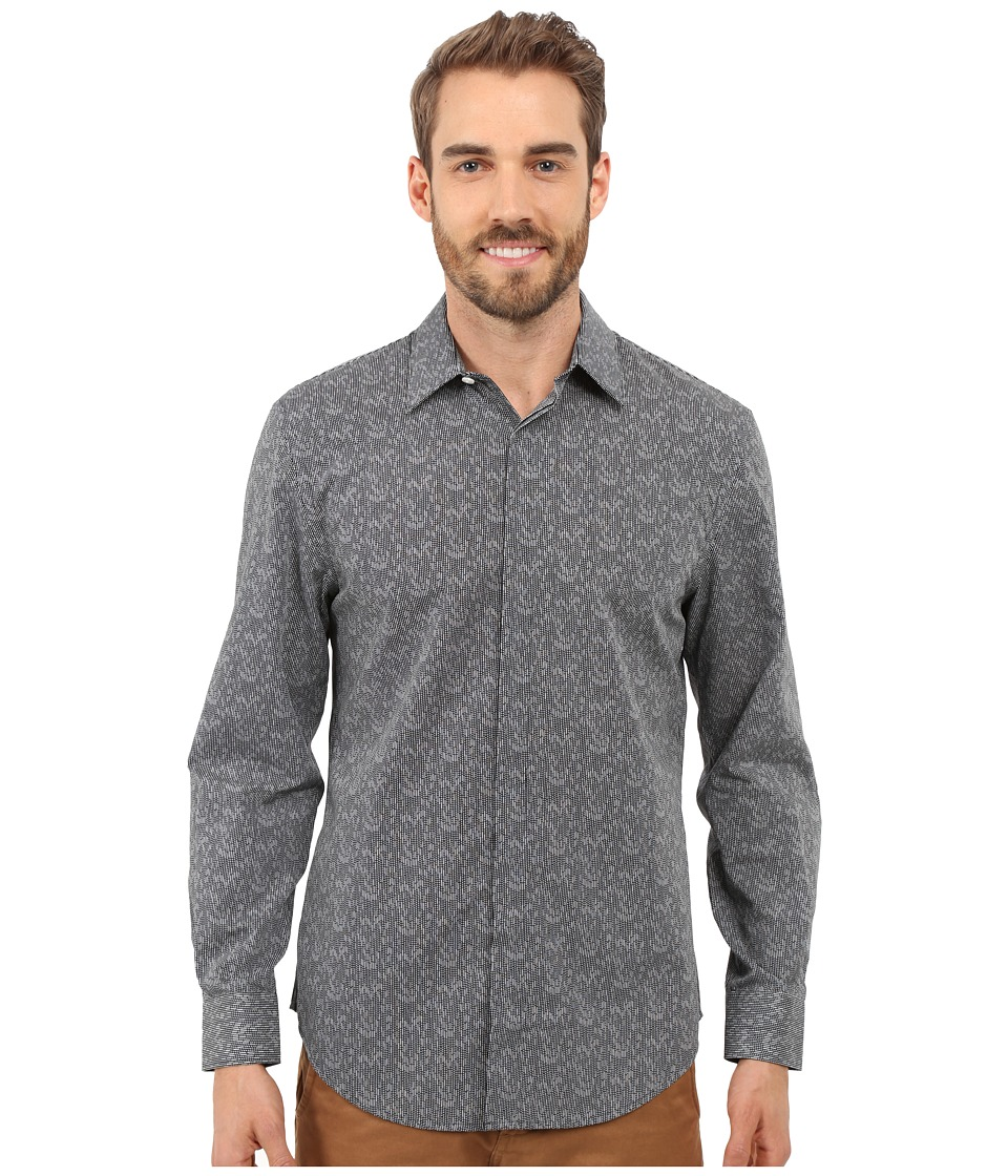 Perry Ellis Exclusive Geo Print Shirt Black Mens Long Sleeve Button Up