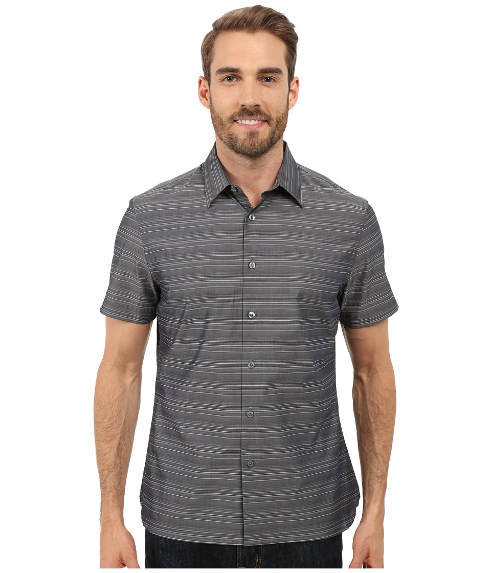 Perry Ellis Horizontal Textured Stripe Shirt Dark Sapphire Mens Short Sleeve Button Up