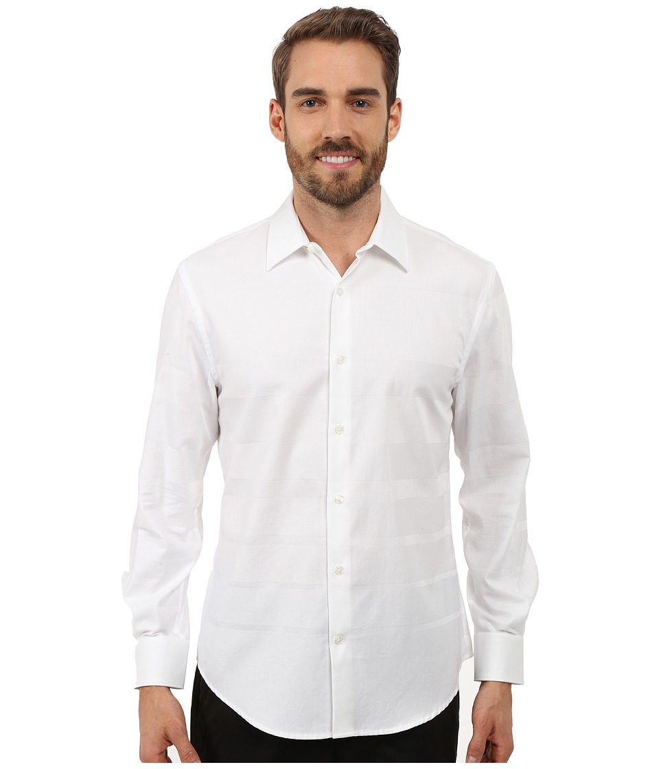 Perry Ellis Engineered Solid Stripe Pattern Shirt Bright White Mens Long Sleeve Button Up