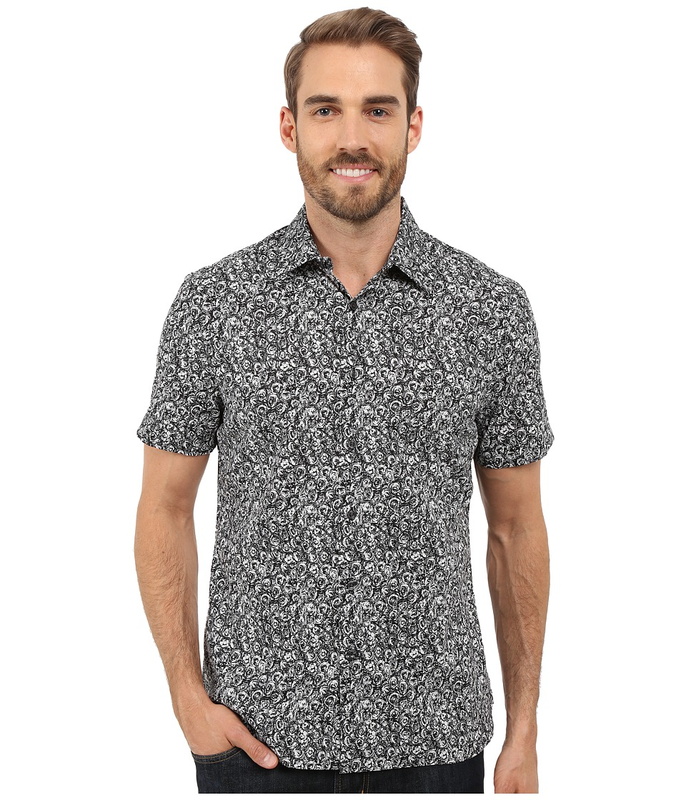 Perry Ellis Short Sleeve Exclusive Sketch Floral Shirt Black Mens Short Sleeve Button Up
