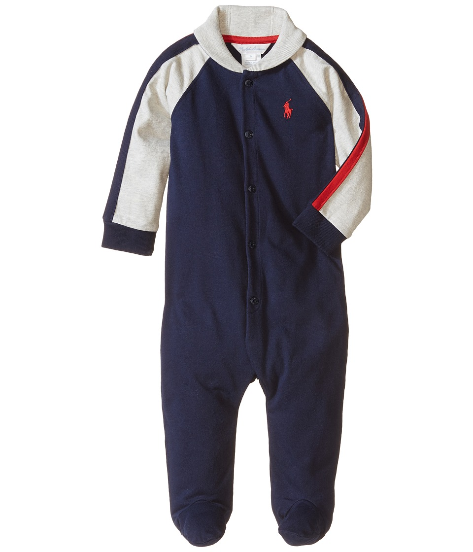 Ralph Lauren Baby - Rugby Jersey Shawl Collar Coverall (Infant) (French Navy) Boys Overalls One Piece