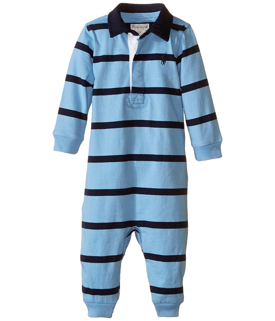 Ralph Lauren Baby - YD Rugby Jersey Stripe Coveralls (Infant) (Suffield Blue Multi) Boys Overalls One Piece
