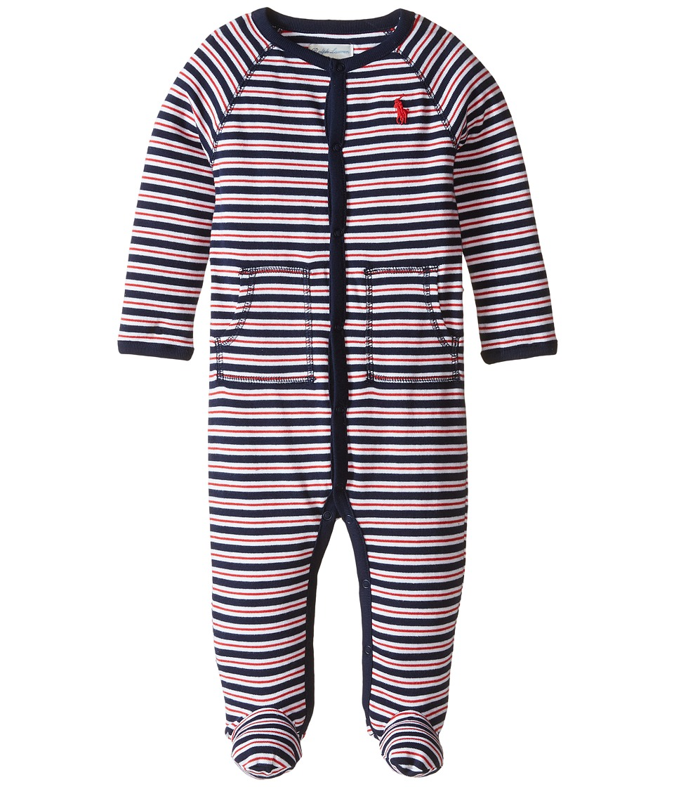 Ralph Lauren Baby - YD Interlock Stripe Coveralls (Infant) (French Navy Multi) Boys Overalls One Piece