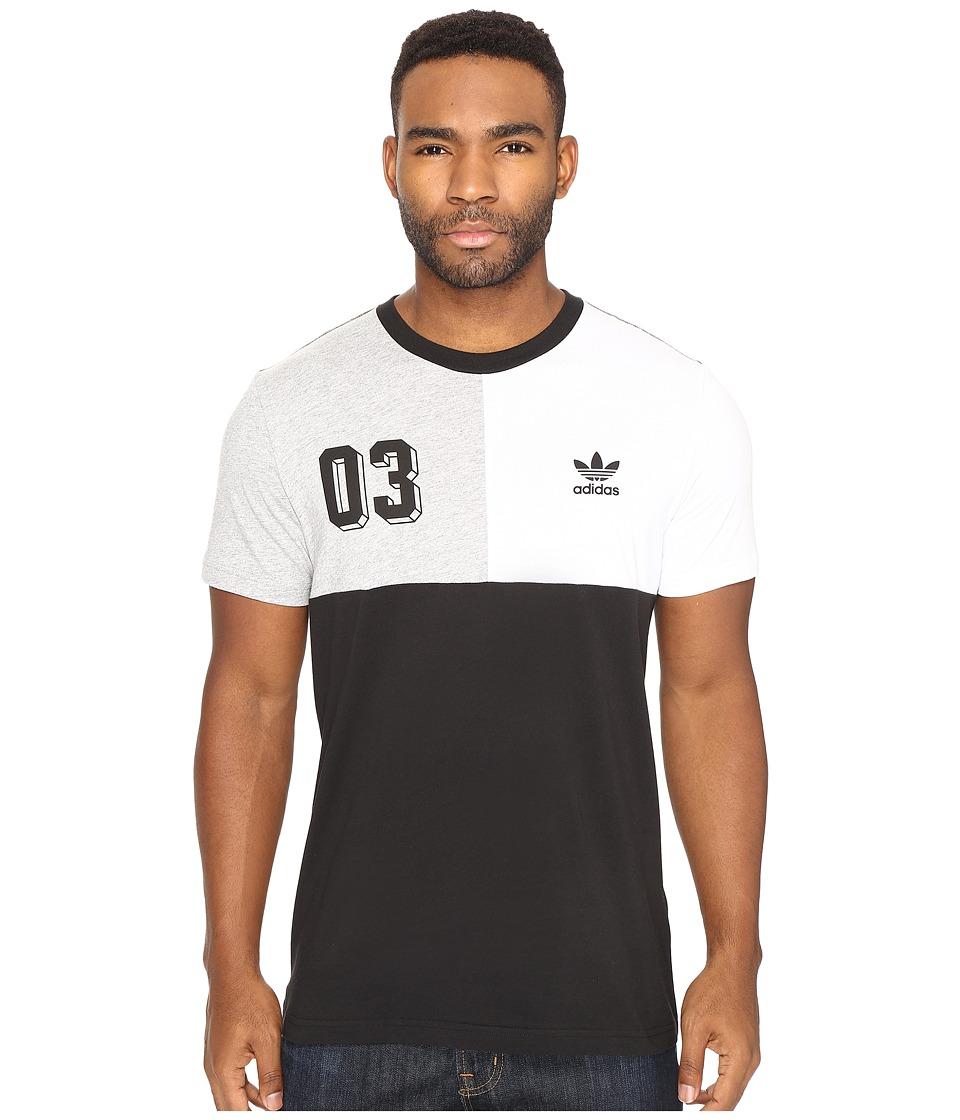 adidas Originals Bold Panel Graphic Tee (Black/White/Medium Grey Heather) Men