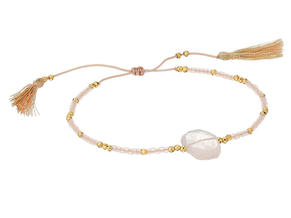 Chan Luu 6 Adjustable Rose Quartz Pull Tie Single Bracelet Rose Quartz Bracelet