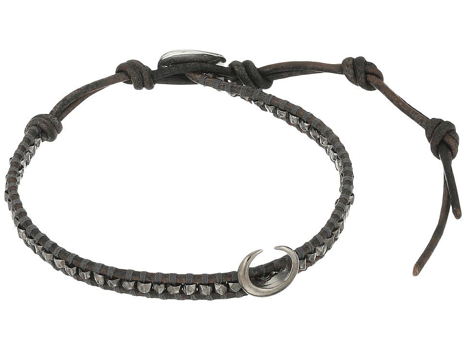 Chan Luu 6 Silver Nugget on Beige Leather Single with Horn Accent Bracelet Gunmetal/Natural Grey Bracelet