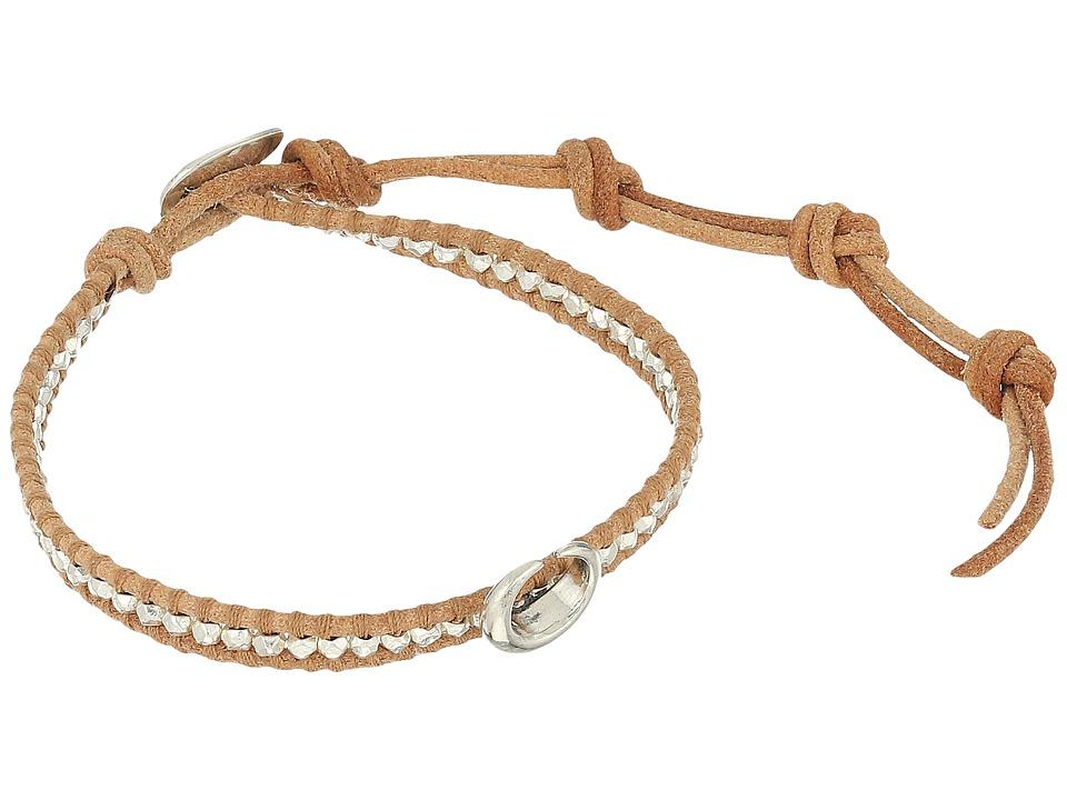 Chan Luu 6 Silver Nugget on Beige Leather Single with Horn Accent Bracelet Silver/Beige Bracelet