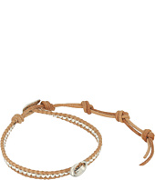Chan Luu - 6' Silver Nugget on Beige Leather Single with Horn Accent Bracelet