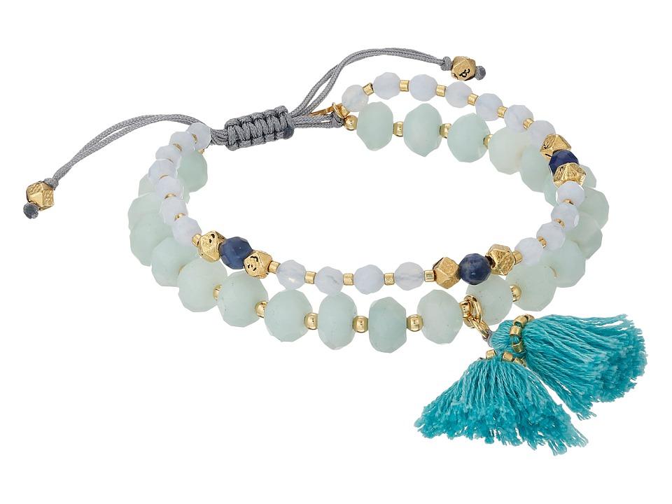 Chan Luu 6 Adjustable Light Blue Mix Double Strand Single Bracelet Light Blue Mix Bracelet