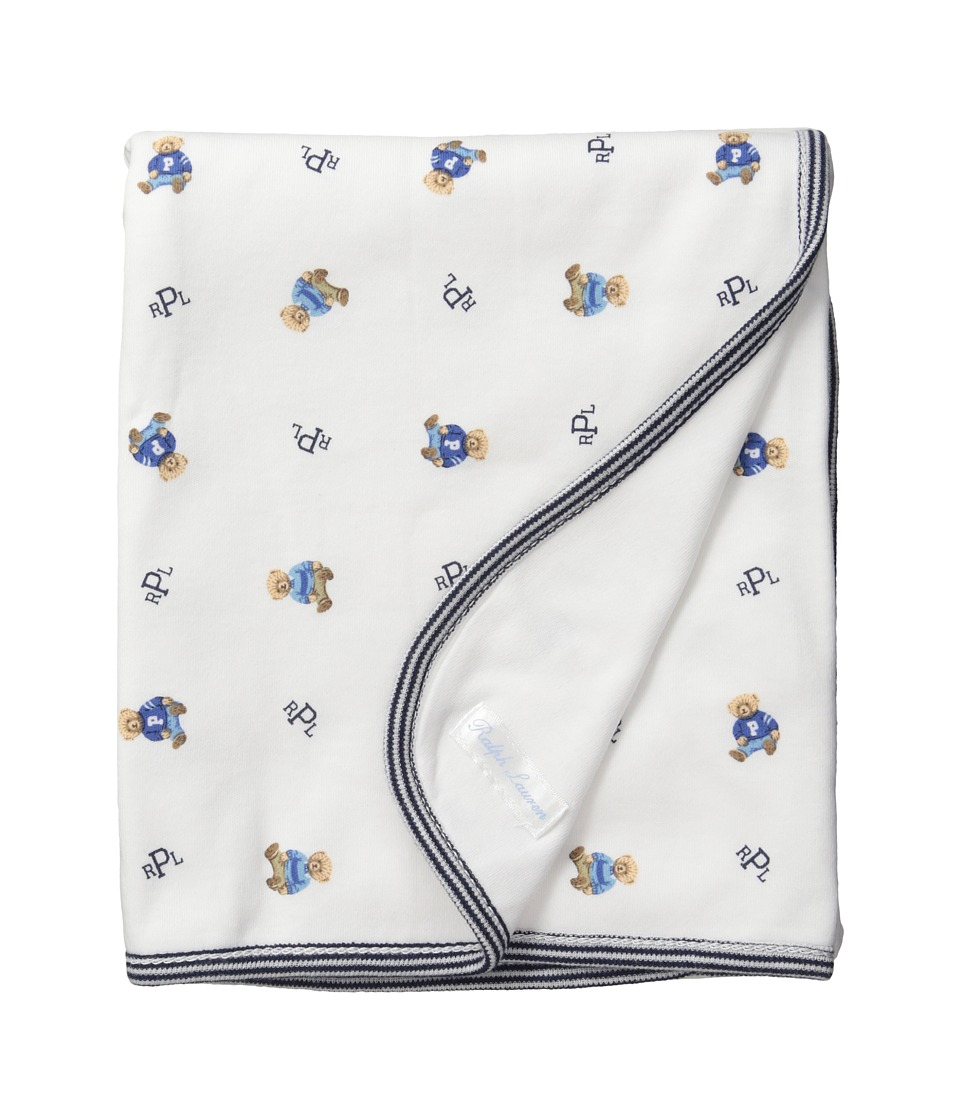 Ralph Lauren Baby - Printed Interlock Bearl Blanket (White Multi/French Navy) Blankets
