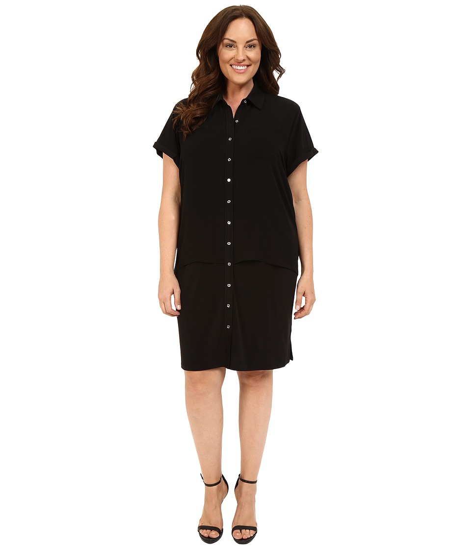 Calvin Klein Plus Plus Size Double Layer Dress w/ Woven Black Womens Dress