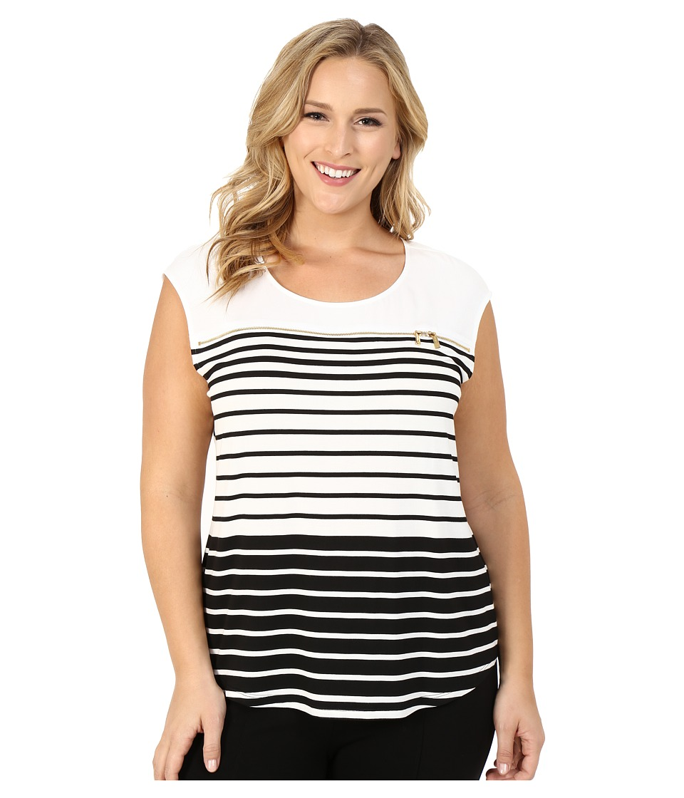 Calvin Klein Plus Plus Size Varigated Stripe Shell Black/White B Black/SW9 Womens Sleeveless