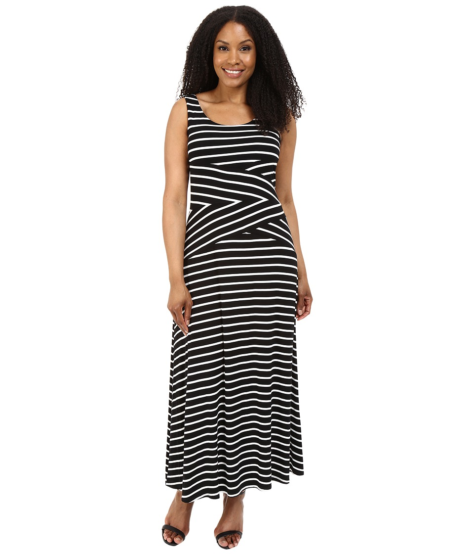 Calvin Klein Plus Plus Size Stripe Maxi Dress Black Combo 2 Black/White Womens Dress