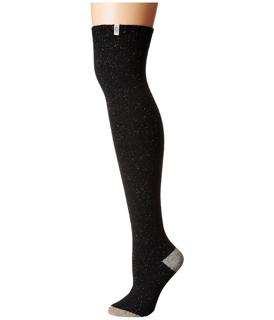 UGG - Color Block Rib Over the Knee Socks (Charcoal) Womens Knee High Socks Shoes