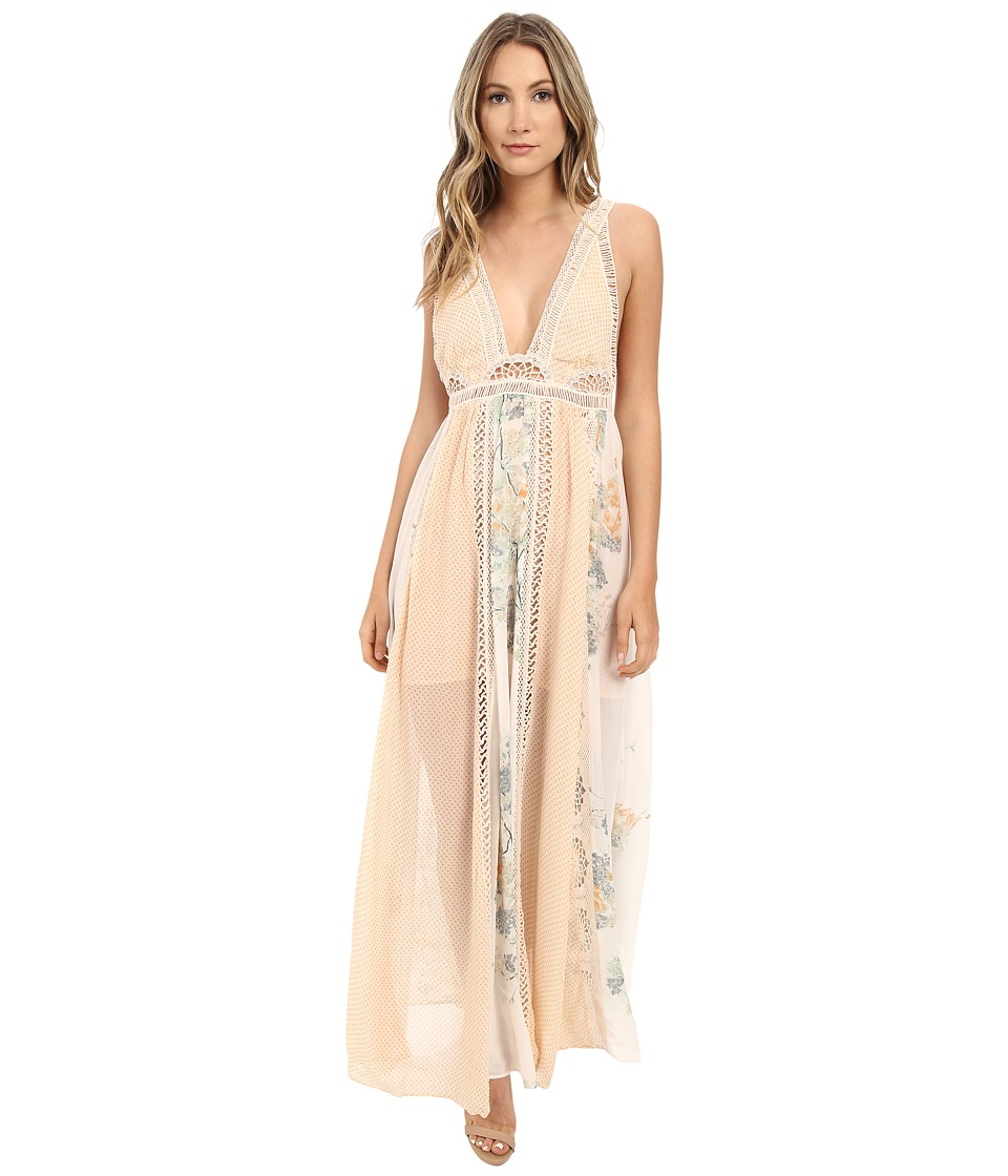 Free People Queen of the Sun Maxi Dress Neutral Combo Womens Dress