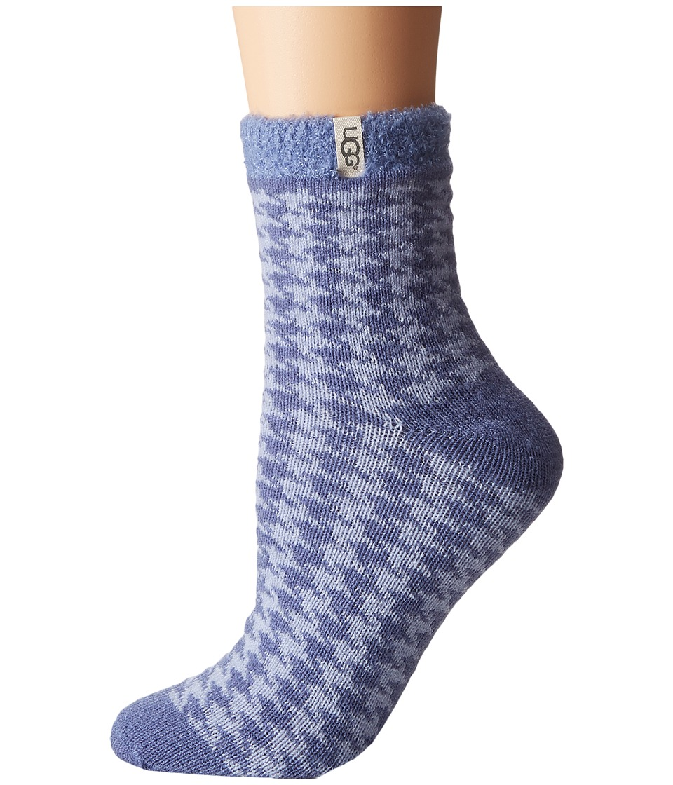 UGG - Houndstooth Fleece Lined Socks (Pajama Blue) Women