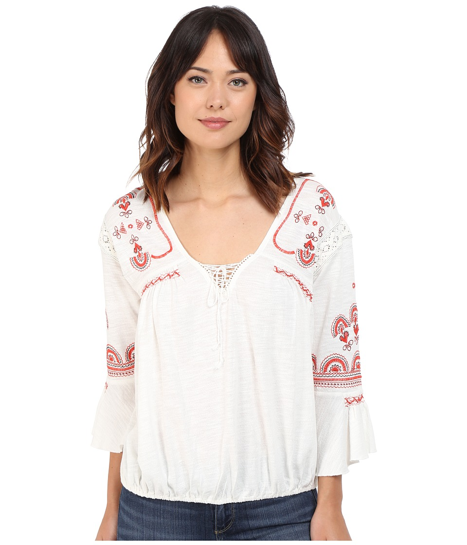 Free People Chiquita Top Ivory Combo Womens Blouse