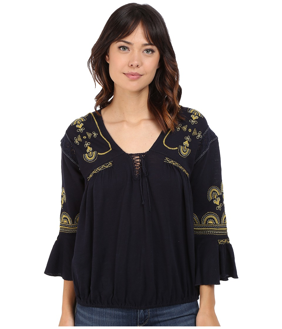 Free People Chiquita Top Indigo Combo Womens Blouse