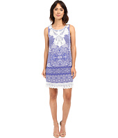 Sangria - Printed Crepe De Chine Shift with Crochet Neck and Hem