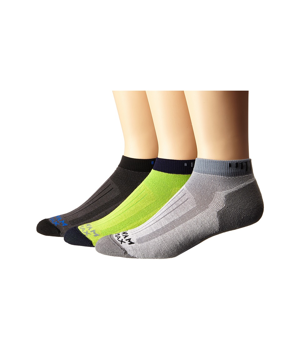 Wigwam Merino Rigge Runner Pro Low 3 Pack Grey/Lime Macaw/Charcoal Crew Cut Socks Shoes