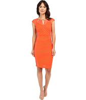 Sangria - Cap Sleeve Lace and Shutter Pleat Sheath with Cut Out Neck