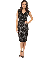 Sangria - Cap Sleeve V-Neck Lace Midi with Embellished Waist