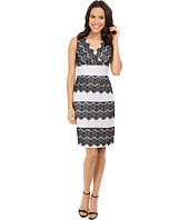 Sangria - V-Neck Shutter Pleat and Lace Tiered Sheath