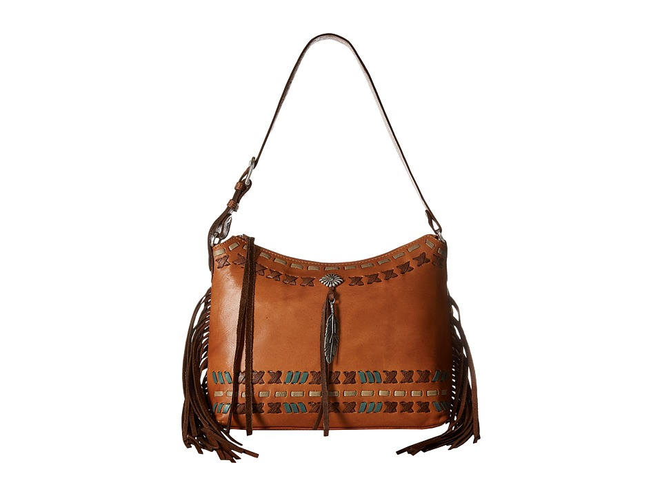 American West - Mohican Melody Zip Top Shoulder Bag (Golden Tan/Antique Brown) Shoulder Handbags