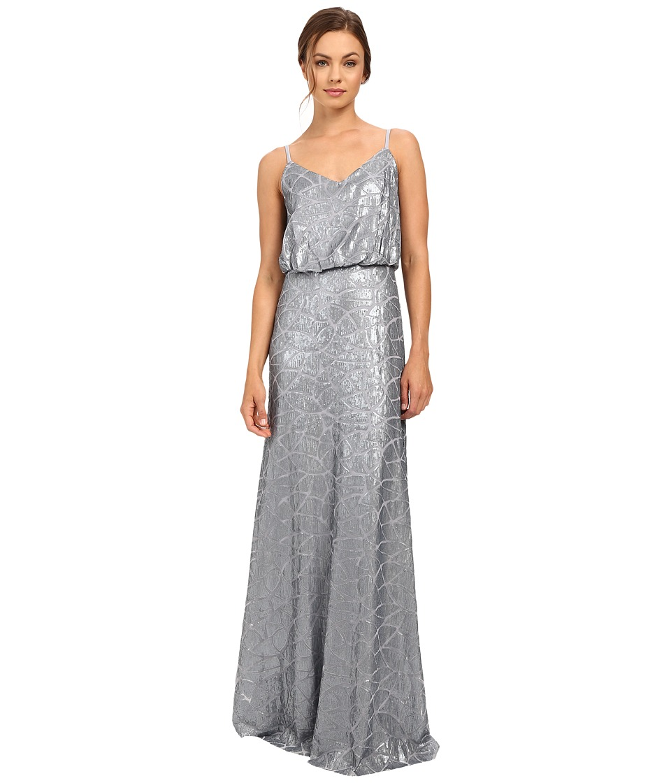 Donna Morgan Blouson Sequin Gown (Steel Blue) Women