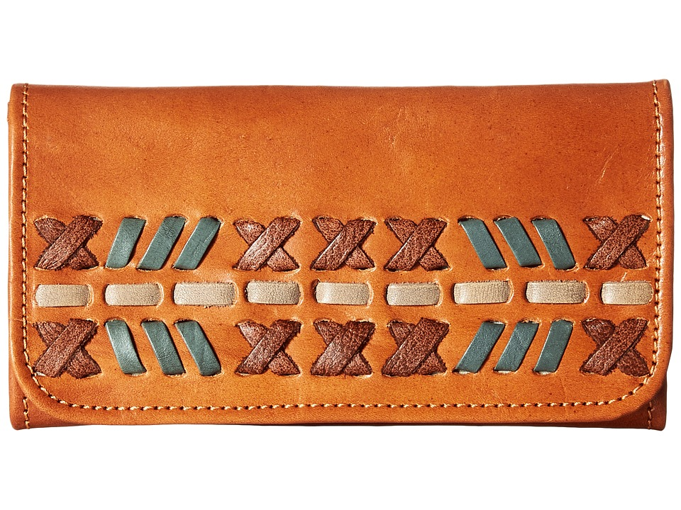 American West - Mohican Melody Trifold Wallet (Golden Tan/Antique Brown) Wallet Handbags